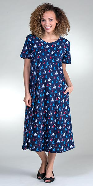 e43748c9da36a La Cera Plus A-Line Short Sleeve Cotton Knit Dress - Sail Away
