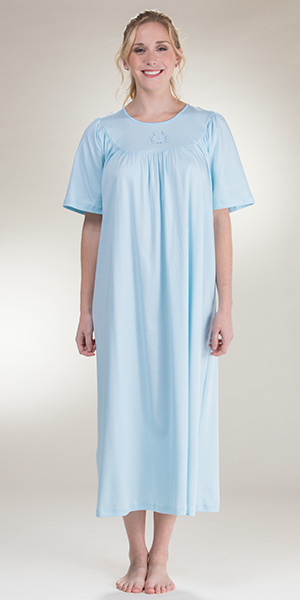 a10afacf10 Calida Nightgowns - Short Sleeve Cotton Nightshirt in Blue. Short Sleeve  Cotton Knit Night gown ...