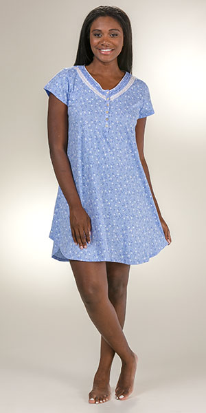Eileen West Sleepshirt - Cotton Knit V-Neck Short Gown - Blueprint Vine dad72b069
