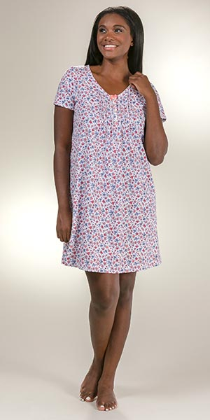0a4d96c1c4f9 Plus Carole Hochman Cotton Knit Sleep Shirt - Short Sleeve in Daisy Field
