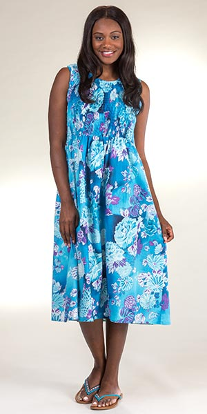 Metropolitan Plus Size Sleeveless Cotton Smocked Sundress in Gentle Waters