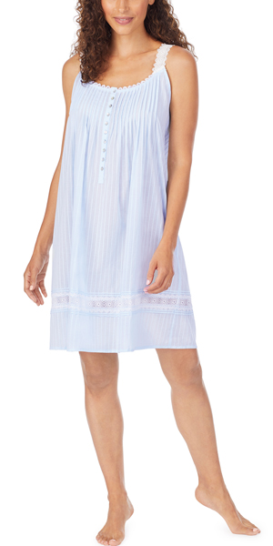 Eileen West Woven Cotton Dobby Stripe Chemise in Sunny Blue