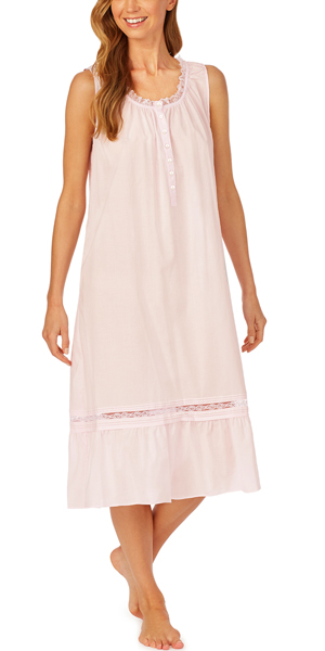 Eileen West 100% Cotton Lawn Long Sleeveless Nightgown - Vintage Blush