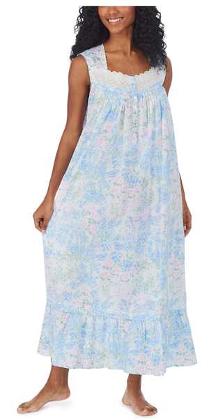 Eileen West Nightgown - 100% Cotton Ballet Sleeveless Gown in Artist's Meadow