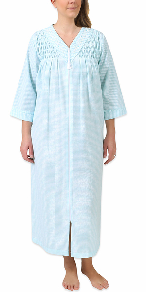 Miss Elaine Seersucker Long Zip Robe - Smocked in Aqua White Check