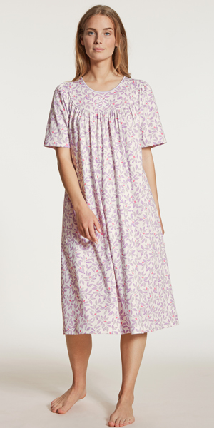 Calida Nightgowns - Cotton Knit Short Sleeve in Lavender Mist
