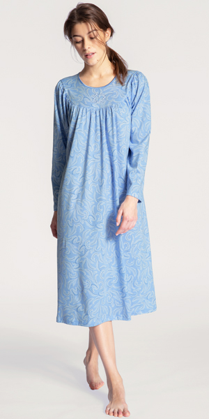 Calida Long Sleeve Nightgowns - Cotton Knit in Blue Paisley