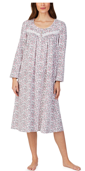 Eileen West Cotton Jersey Knit Long Nightgown - Long Sleeve in White Berry Scroll