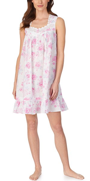 Eileen West Cotton Lawn Sleeveless Chemise in Blooming Roses