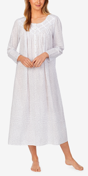 Eileen West Long Sleeve Cotton Lawn Nightgown in Silver Garden Inspiration