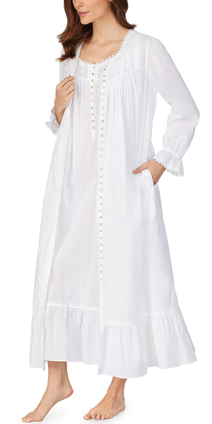 Eileen West Nightgown and Robe Set - 100% Cotton Ballet Length Peignoir in Lily White