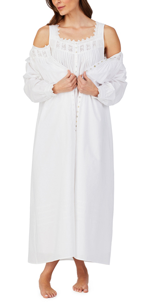 Eileen West Long Cotton Lawn Sleeveness Nightgown / Robe Set in Sparkling White