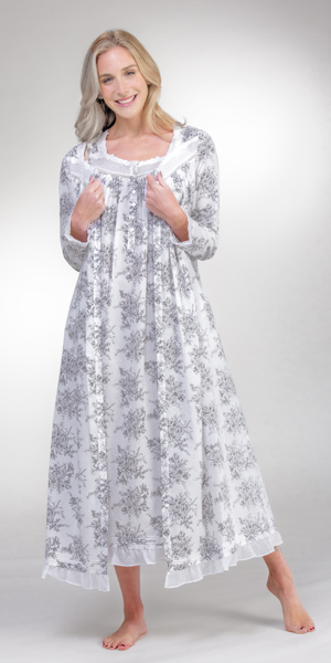Eileen West Nightgown and Robe Set - 100% Cotton Ballet Length Peignoir in Heather Grey Floral
