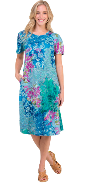 La Cera Plus Dresses - Cotton Knit A-Line Blue Dress in Seaside Garden