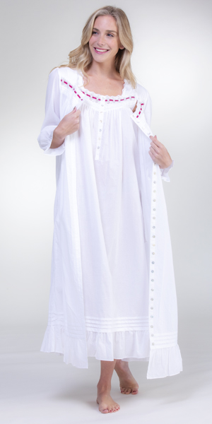 Eileen West Nightgown and Robe Set - 100% Cotton Ballet Length Peignoir in White Flair
