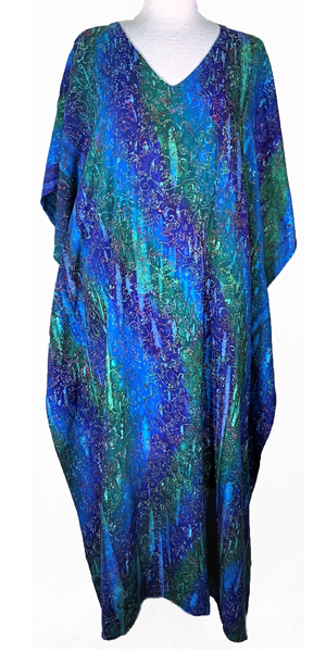 Plus Size Long Caftan Rayon Dress by Eagle Ray Traders - Assorted Deep Colors