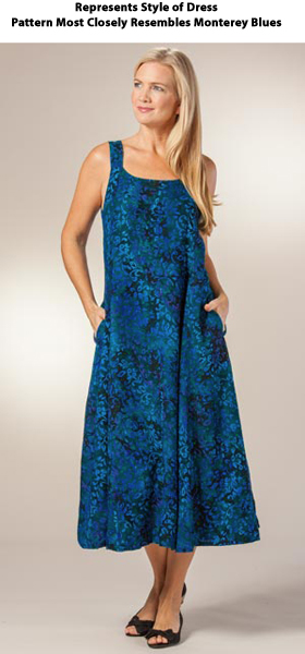 Plus Sleeveless Tie-Back Long Dress by Eagle Ray Traders in Assorted Prints