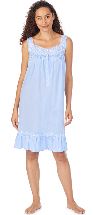 Eileen West Short Sleeveless Cotton Nightgown Embroidered in Blue Chambray