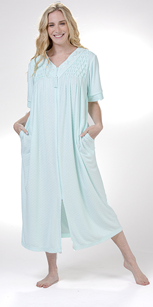 Miss Elaine Long Robe - Cozy-Soft Stretch Terry Zip-Front in Aqua Diamonds
