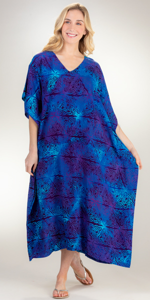 Eagle Ray Long Rayon Caftan Dress in Celtic Blessing