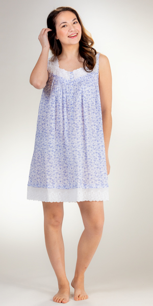 Short Eileen West Sleeveless Cotton Lawn Nightgown in Daisy Joy