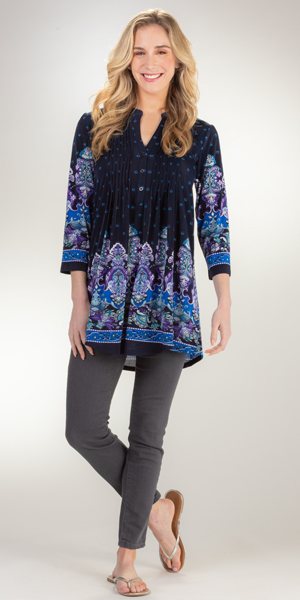 La Cera 3/4 Sleeve La Cera Poly Blend Tunic Top in Baroque Blue