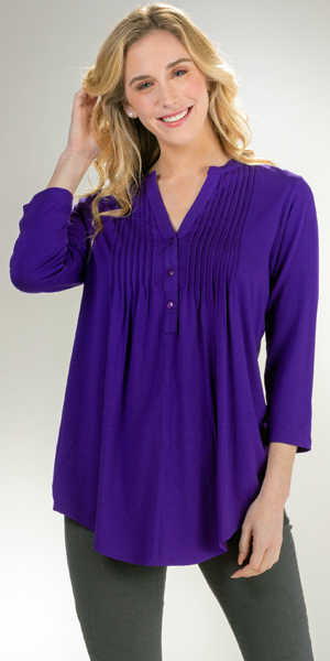 La Cera Pleated 3/4 Sleeve Rayon Blend Stretch Tunic Top - Purple