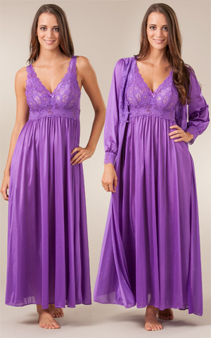 Shadowline Silhouette Robe/Gown Peignoir Set - Purple