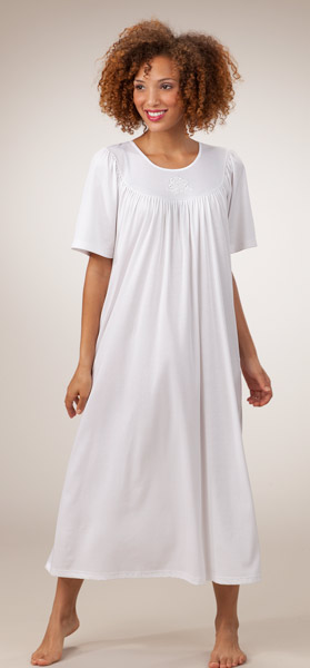 Calida Nightgown - Short Sleeve White Cotton Nightgowns in White