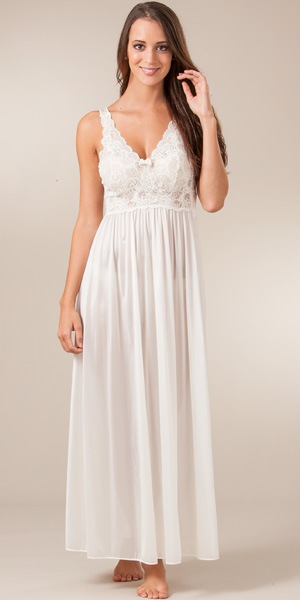 Bridal Nightwear - Long Sleeveless Ivory Shadowline Silhouette Gown