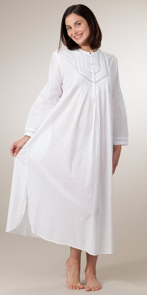 As Seen in Glamour Long Sleeve White Cotton Nightgown by La Cera