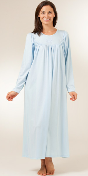Calida Nightgowns - Cotton Knit Calida Long Sleeve Nightgown - Blue