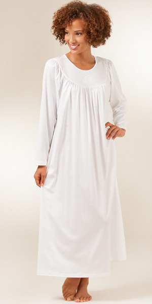 Calida Nightgowns - Cotton Knit Long Sleeve Calida Nightgown in White