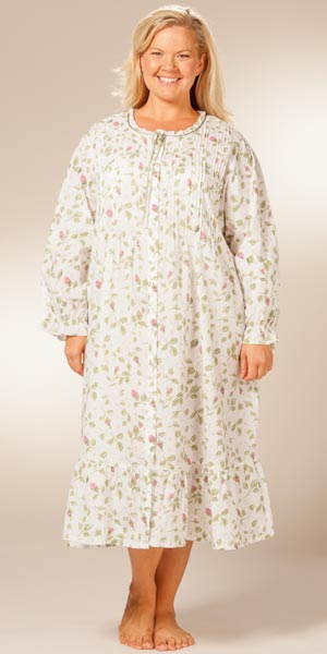 Plus Sized La Cera Cotton Robe/Button-Front Nightgown - Blooming Vines