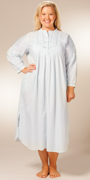 Plus La Cera Cotton Nightgown - Long Sleeve Pintucking Delight - Blue
