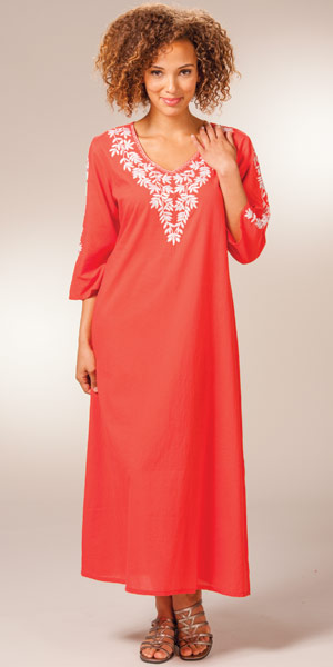 Embroidered Woven Cotton 2/3 Sleeve Caftan by La Cera - Coral Sunset