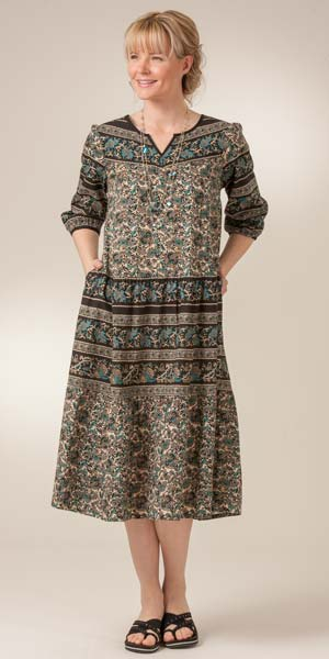 La Cera 100% Cotton 3/4 Sleeve Muumuu Lounger Dress in Teal Paisley