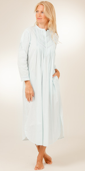 La Cera Cotton Nightgowns - Long Sleeve in Pintucking Delight - Blue