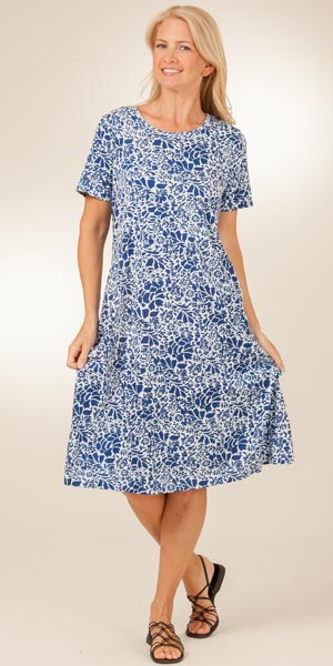 La Cera Cotton Knit A-Line Dress - Blue Floral on White