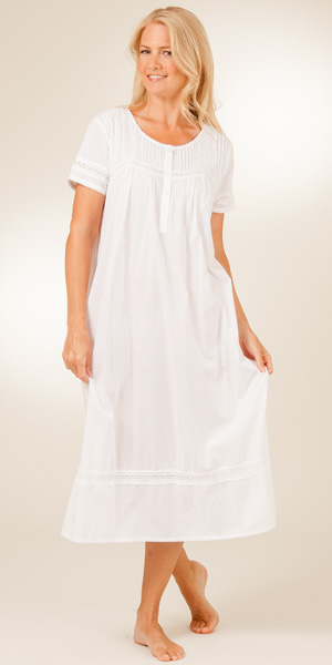 La Cera White Nightgowns - Cotton Short Sleeve in Pearl Innocence
