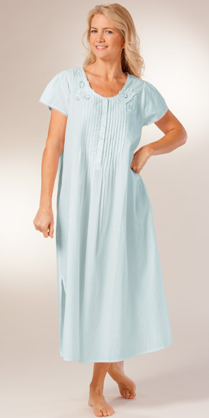 La Cera Cotton Nightgown - Short Sleeve Lace-Trim Gown in Blue