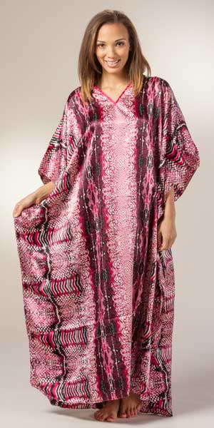 Plus Winlar Caftans - One Size Long Satin Charmeuse Kaftan In Fuchsia Congo