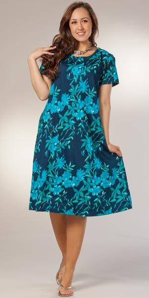 Casual Plus Size Cotton Dress by La Cera - A-Line in Luna Garden