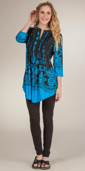 La Cera Pleated 3/4 Sleeve Poly Blend Tunic Top - Ethereal Turquoise