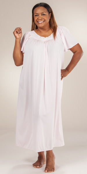 Plus Size Miss Elaine Classics Nylon Ballet Nightgown - Soft Pink