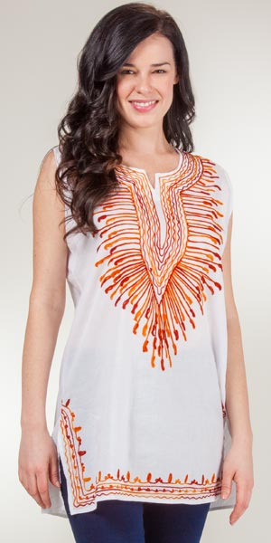 100% Cotton Tunic  - One Size Misses Sleeveless Top in India Orange