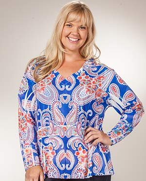 Plus Size Long Tunic - Sienna Rose Poly Knit in Intensity