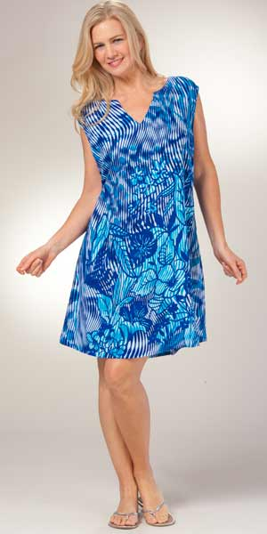 A-Line Dress - Peppermint Bay Sleeveless Dress - Sultry Blue