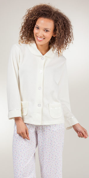 KayAnna Cozy-Knit Bed Jacket - Peter Pan Collar Waffle Poly In Ivory