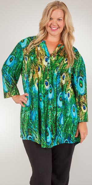 Plus La Cera Tunics - Pleated 3/4 Sleeve Poly Blend Blouse - Peacock Pretty
